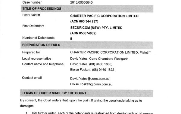 Charter Pacific vs Securicom & Ors